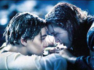 FILM: Titanic (1997), with Leonardo DiCaprio as Jack Dawson and Kate Winslet as Rose DeWitt Bukater. Titanic-Winslet-Dicaprio_l.jpg